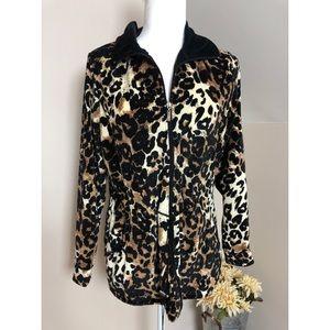 Kaktus Leopard Cheetah Print Zip Up Jacket